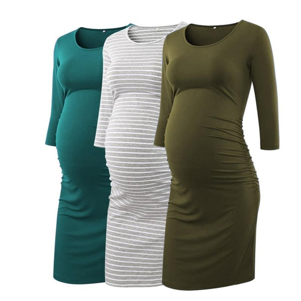 Side Ruched 3 quarter Sleeve Maternity Dress