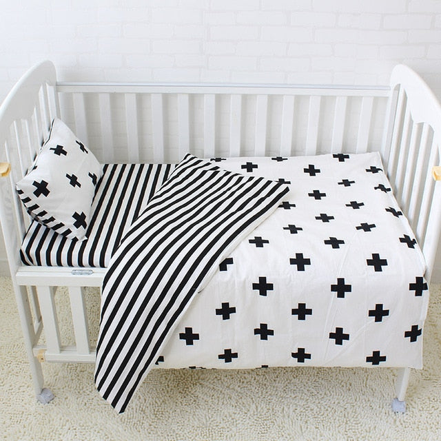 3Pcs Baby Bedding Set Cotton Crib Sets Including Duvet Cover Pillowcase Flat Sheet - 6 styles