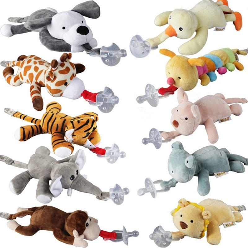 Baby Boy Girl Dummy Pacifier Chain Clip Plush Animal Toy (not included Pacifier)