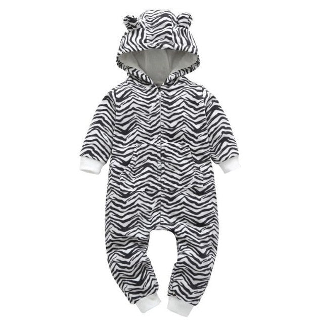 Boy Fleece Bear Hooded Romper