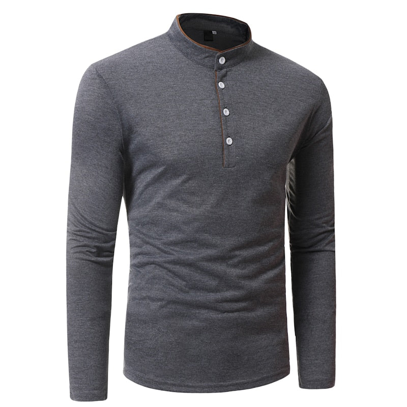 994f93dfb 2018 New Brand Men Polo Shirt Solid Color Long-Sleeve Slim Fit Shirt Men  Cotton