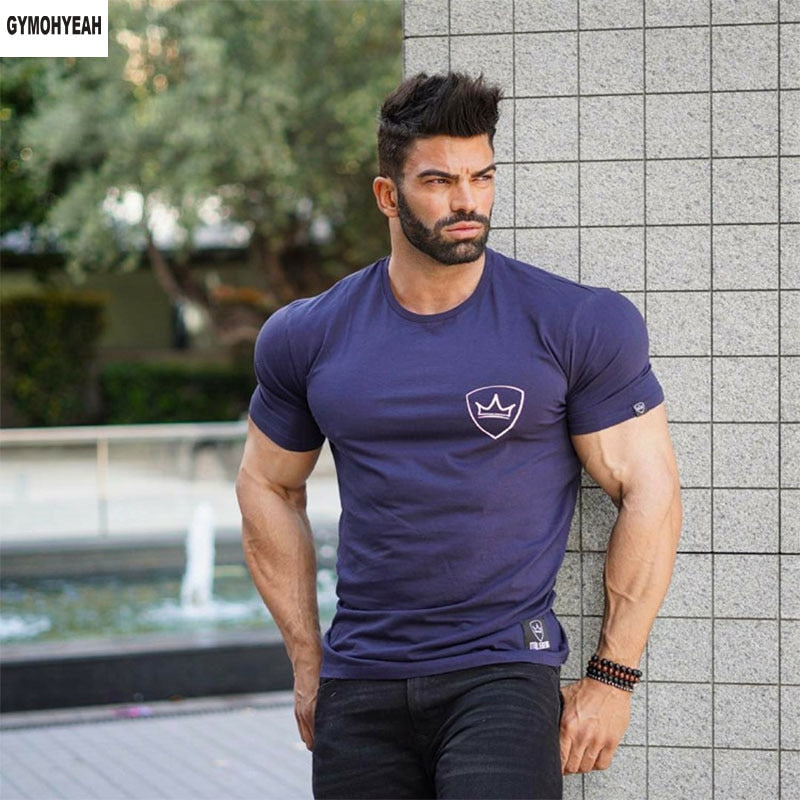 GYMOHYEAH 2018 New arrival Men's O Neck short Sleeve T Shirt Cotton brand Spring summer Fashion Casual t-shirt For Male-ivroe