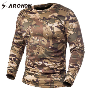 f794aa16 S.ARCHON Spring Tactical Camouflage Long Sleeve T Shirts Men Military Quick  Dry O Neck