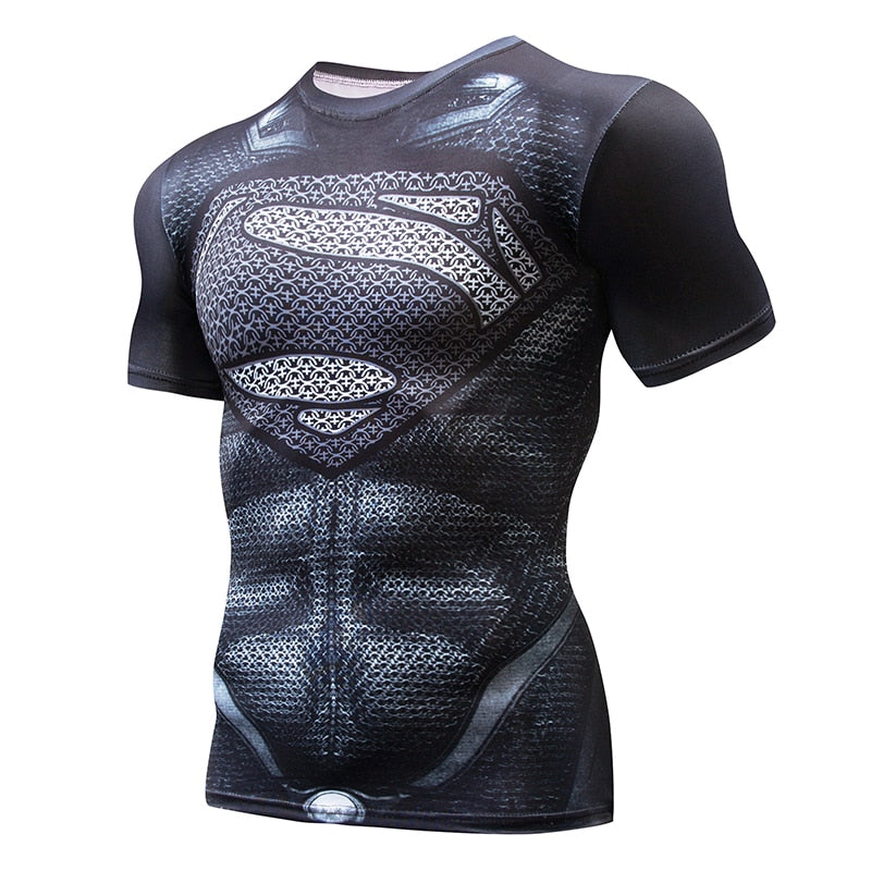 Super hero Crossfit Tops Men's Tight Skin Fit Short Sleeve Compression Shirt Bodybuilding T shirt 3D Printed Punisher Skull Tees-ivroe
