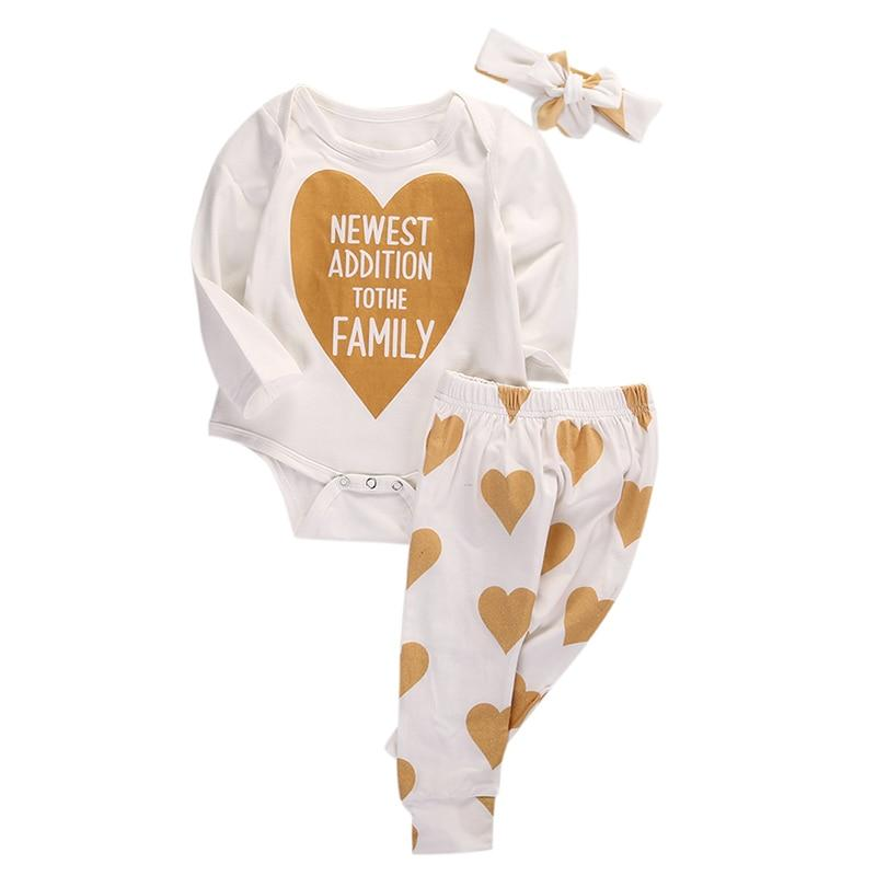 0-18M Newborn Infant Baby Boys Girls Clothes Long Sleeve Gold Heart Cotton Romper Pants Headband 3pcs Outfits Bebek Clothing Set-ivroe