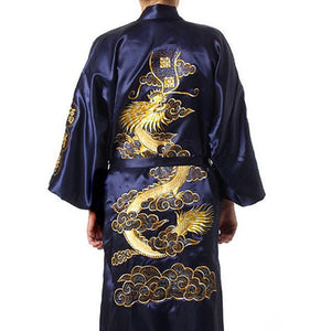 Free Shipping Navy Blue Chinese Men's Satin Silk Robe Embroidery Kimono Bath Gown Dragon Size S M L XL XXL XXXL S0008-ivroe