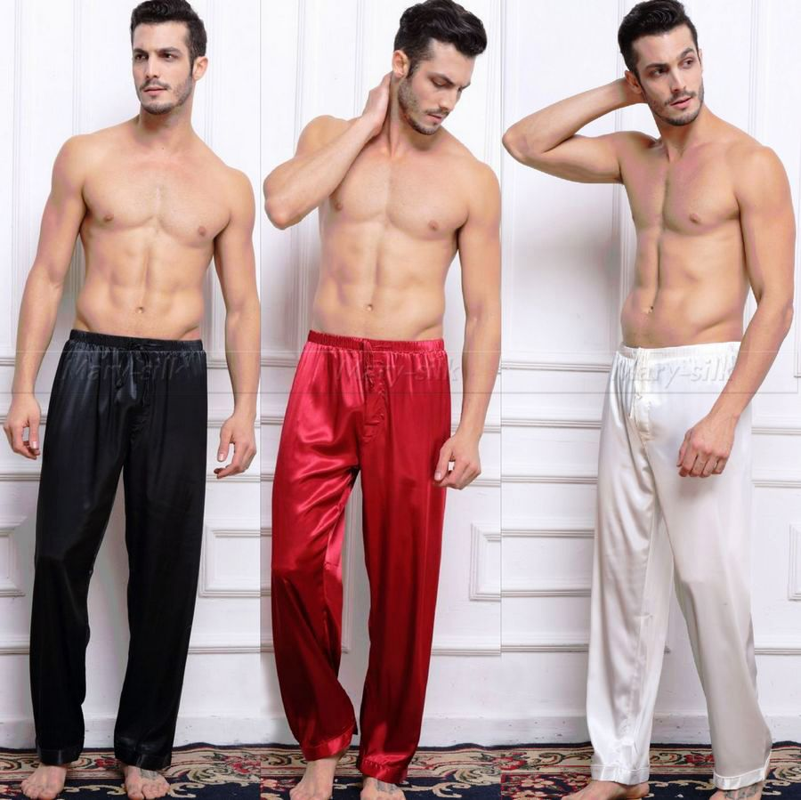 Mens Silk Satin Pajamas Pyjamas Pants Lounge Pants Sleep Bottoms Free Shipping S M L XL 2XL 3XL 4XL Plus-ivroe