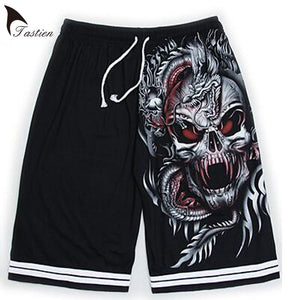 TASTIEN New Brand Luminous Mens Shorts Summer Wolf Skull Print Cotton Shorts Fluorescent Personalized Noctilucent Boys Shorts-ivroe