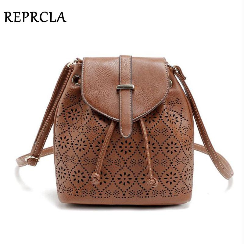 Luxury Hollow Out Shoulder Bags String Women Bucket Bag Designer PU Leather Messenger Bags Women's High Quality Handbags-ivroe