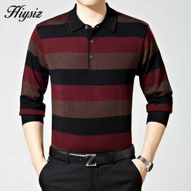 Top Quality Fall Dress Long Sleeve Cashmere Sweater Shirt Men Wool Pullover Men Casual Striped Turn-down Collar Pull Homme 66110-ivroe