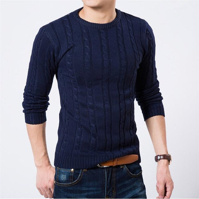 New Men Sweater Pure Color Pullover Mens Sweater Winter Warm Clothing Casual Slim Fit Pullover Round Neck Sweater M-XXL-ivroe