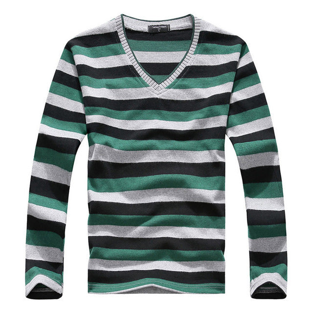 Brand New Clothing Men's V-neck Striped Sweater Pullover Men Long Sleeve Multi color Knitted Sweaters Male Cotton Shirts Knit-ivroe