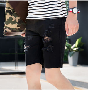 Mens Denim Shorts Slim Regular Casual Knee Length Short Hole Jeans Shorts For Men 2017 New Summer White Blue-ivroe