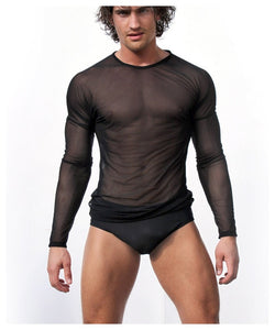 High Quality Men Long Sleeve Sexy Transparent Shirt Mesh Gauze Sexy underwear Gay Sexy Sleepwear Free Shipping-ivroe