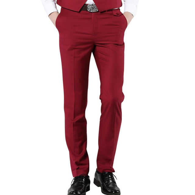 MOGU 2017 New Casual Dress Pants For Men 7 Colors Slim Men Dress Pants Red Mens Elastic Waist Dress Pants Skinny Casual Trousers-ivroe