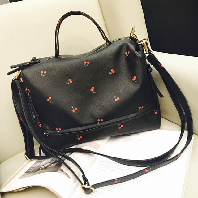 Tinkin New Arrival Large Women Shoulder Bag Fashion Printing Cherry Bag Candy Color Tote With Long Belt Cute Messenger Bag-ivroe