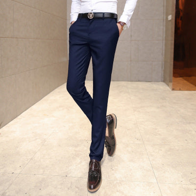 Men's clothing suit trousers /Male high-grade pure color slim Fit business Suit pants/Male high-end leisure thin leg pants-ivroe