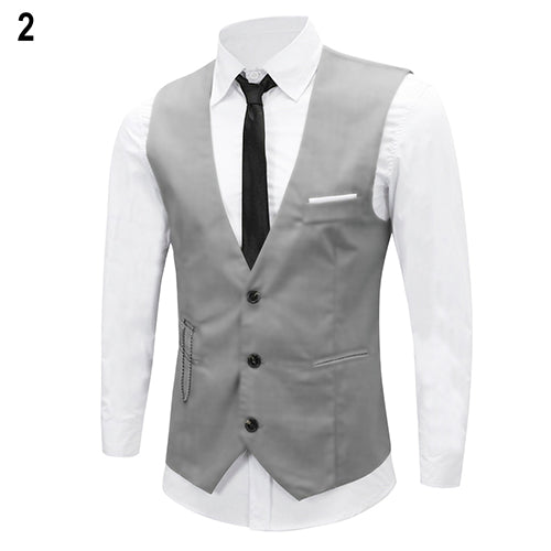 Men's Classic Formal Business Slim Fit Chain Dress Vest Suit Tuxedo Waistcoat-ivroe