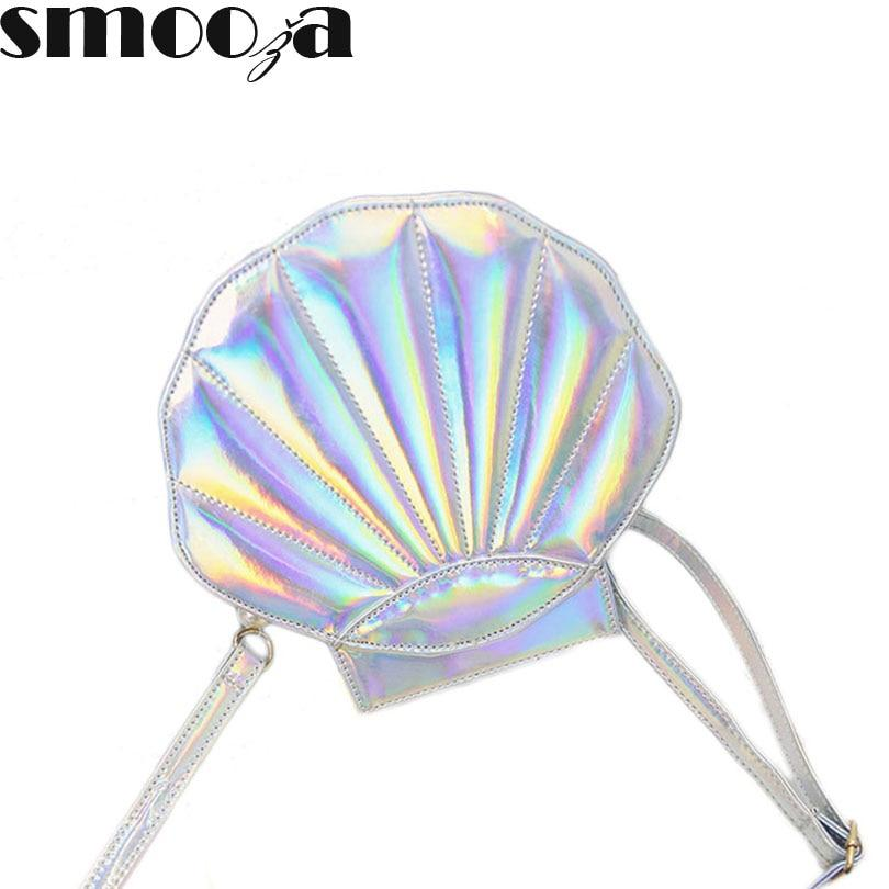 SMOOZA Fashion brand crossbody bag new design laser sweet shell chain shoulder bag clutch bag girl's messenger bag handbag pearl-ivroe
