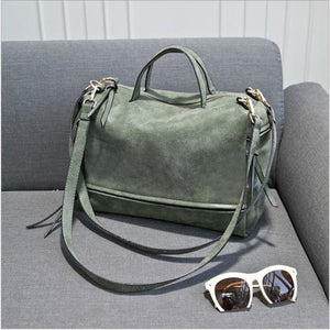 DIDA BEAR women handbag PU leather tote bag Retro shoulder messenger bags Tote Shopping bag green gray blue red Femme Sac a Main-ivroe