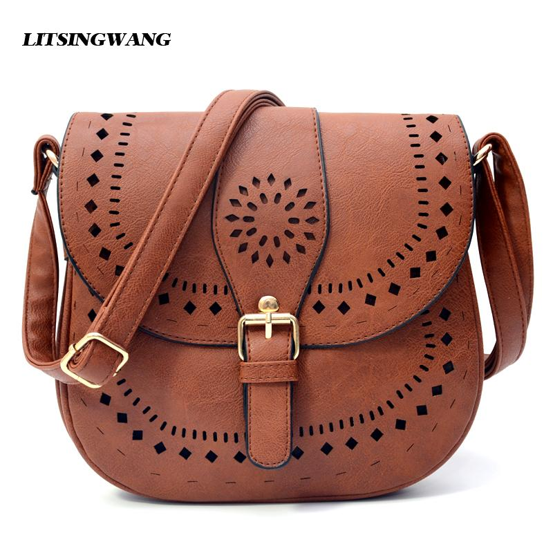 LITSINGWANG Small Casual Women Messenger Bags PU Hollow Out Crossbody Bags Ladies Shoulder Purse And Handbags Bolsas Feminina-ivroe