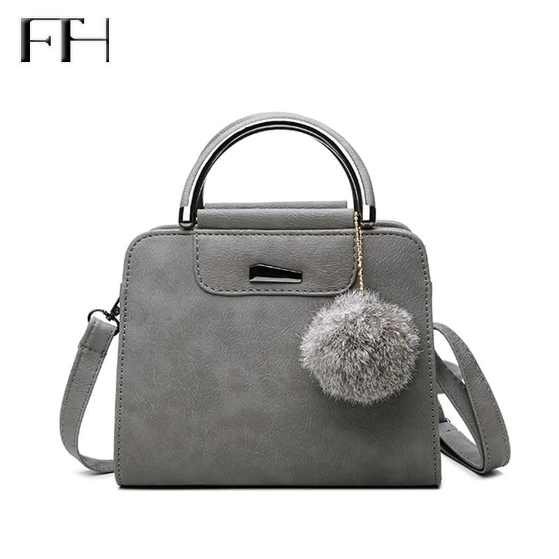 Hot Fashion matte Leather women shoulder Handbag with Fuzzy ball lady pendant messenger bag female crossbody bag easy matching-ivroe