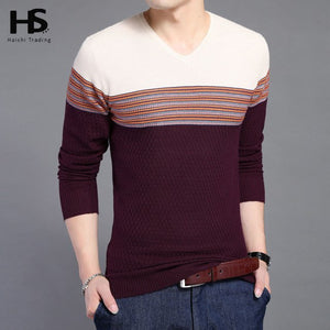 2017 New Arrival Hit Color Striped Patchwork Pullover Men V-Neck Pull Homme Casual Knitted Cashmere Wool Sweater Shirts OEM 6646-ivroe