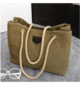 Women Handbag Fashion Shopper Big Canvas Tote Sling 2017 New Style Bags Over Shoulder Bolsas Ladies Casual High Quality Solid-ivroe