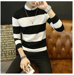 Hot sale men's sweater 2017 Spring Autumn new students South Korean Slim youth striped sweater red and black two colors M-XXL-ivroe