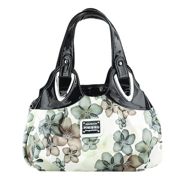 New Fashion handbag Women PU leather Bag Tote Bag Printing Handbags Satchel -Dream green flowers Handstrap-ivroe