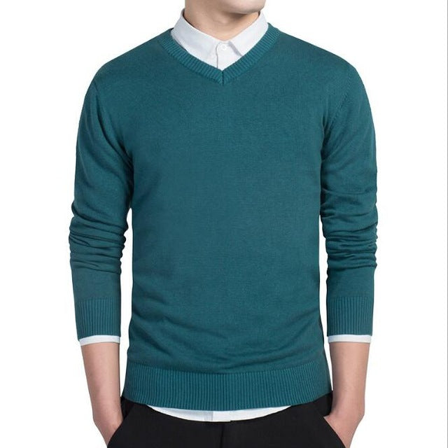 XMY3DWX stylish men fall slim Fit v-neck sweater/Male premium brand leisure Set head knit shirt/Large size knitted sweater XXXL-ivroe