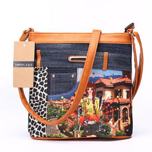 Annmouler Women's Patchwork Shoulder Bags Brand Denim Messenger Bag 2016 Fashion Crossbody Bag Vintage Eiffel Tower Bag-ivroe