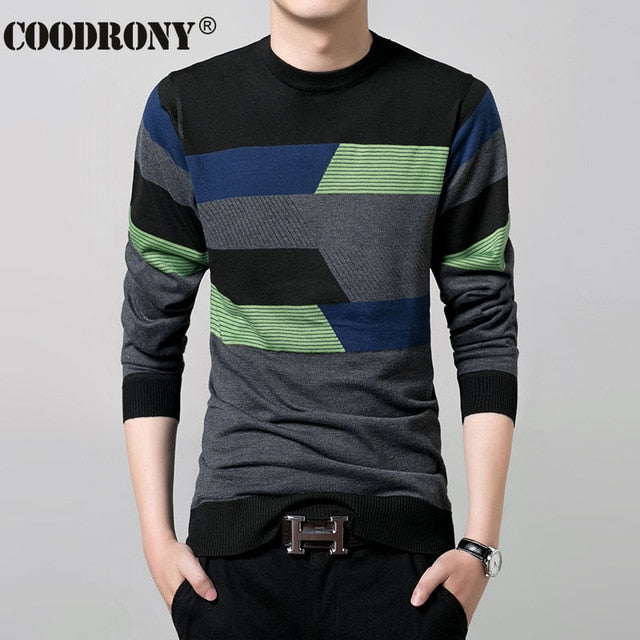 2017 New Autumn Winter Thin Sweater Men Wool Sweaters Knitted Cashmere O-Neck Pullover Shirt Men Casual Striped Pull Homme 66158-ivroe