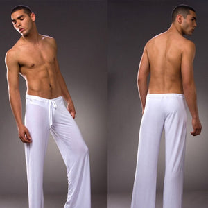 Men 's home pants low - waist fashion sexy loose slippery home pants ice silk Long-sleeved Loungewear-ivroe