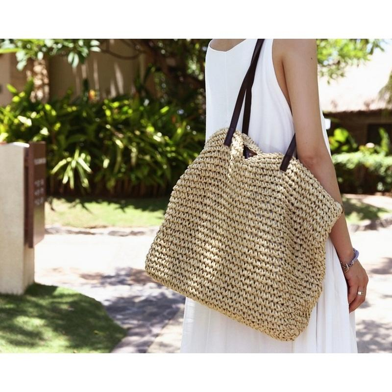 Summer Women Durable Weave Straw Beach Bag Feminine Linen Woven Bucket Bag Grass Casual Tote Handbags Knitting Rattan Bags Hobos-ivroe