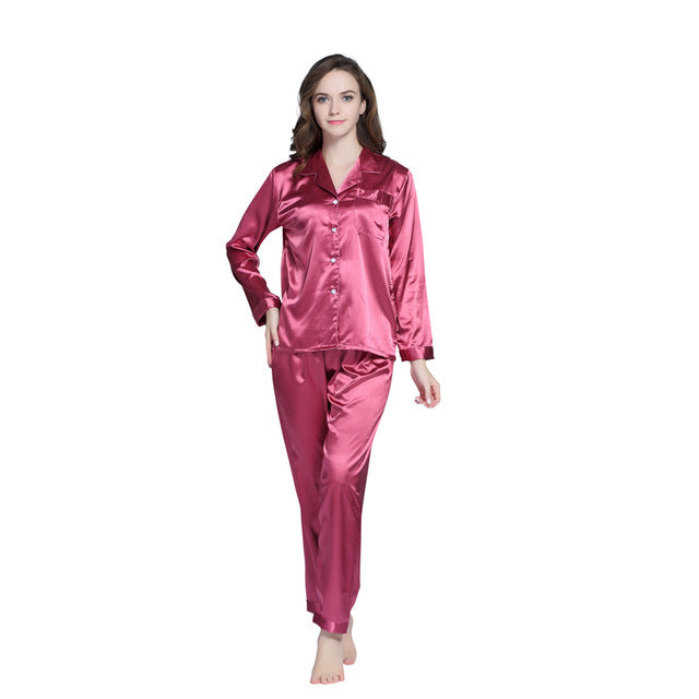Tony Candice Hot Sale Couple Silk Pajamas Set Men Stain Nightgown Lovers  Sleepwear Slim Loungewear For Ladies 990a19b63