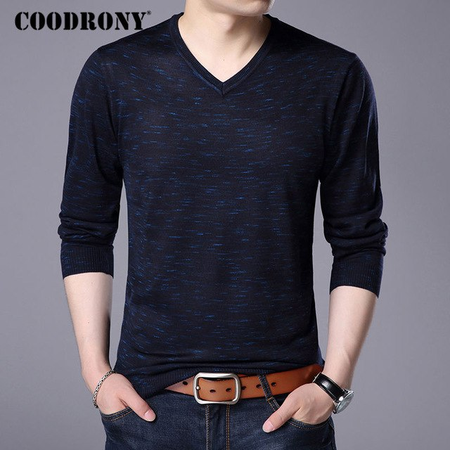 COODRONY 2017 Autumn Winter Warm Wool Sweaters Casual V-neck Pullover Men Brand Clothing Knitted Cashmere Sweater Pull Homme 156-ivroe