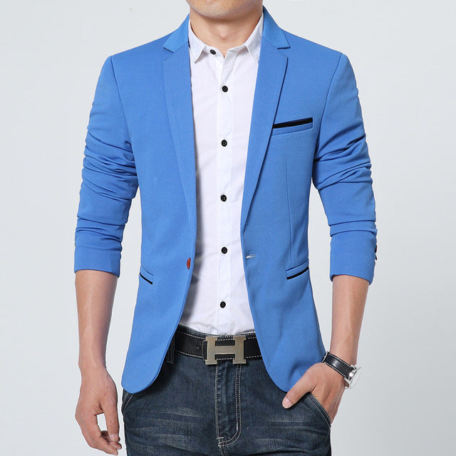 Riinr New Arrival Luxury Men Blazer New Spring Fashion Brand High Quality Cotton Slim Fit Men Suit Terno Masculino Blazers Men-ivroe