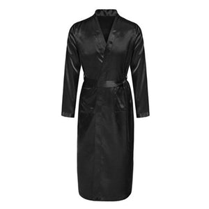 New Black Men's Satin Rayon Robe Gown Solid Color Kimono Bath Gown Lounge Casual Male Nightgown Sleepwear Home Wear-ivroe