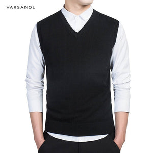 Varsanol Brand Clothing Pullover Sweater Men Autumn V Neck Slim Vest Sweaters Sleeveless Men's Warm Sweater Cotton Casual M-3xl-ivroe