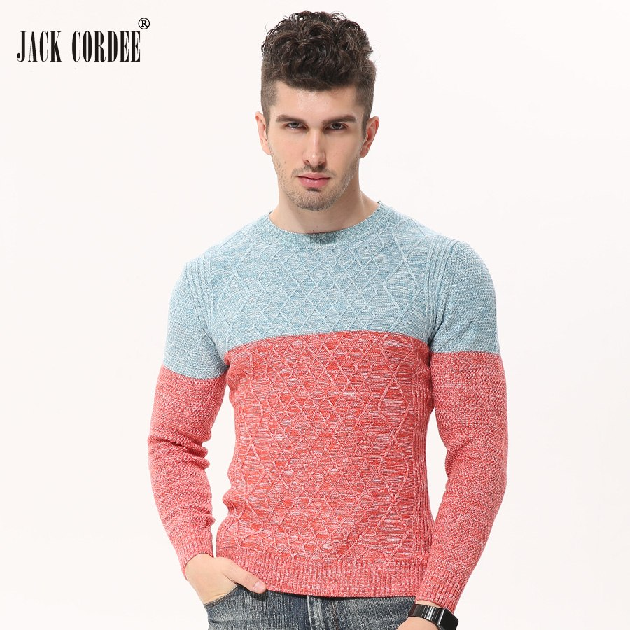 JACK CORDEE 2017 Autumn Winter Fashion Patchwork Knitted Sweater Men O-Neck Slim Pullover Casual Sweaters Homme Knitwear-ivroe