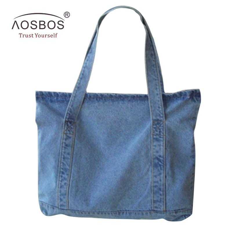 Aosbos Women Canvas Handbags Designer Ladies Denim Blue Shoulder Bags Tote High Quality Large Capacity Handbag-ivroe