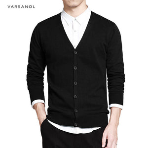 Varsanol Cotton Sweater Men Long Sleeve Cardigan Mens V-Neck Sweaters Loose Solid Button Fit Knitting Casual Style Clothing New-ivroe