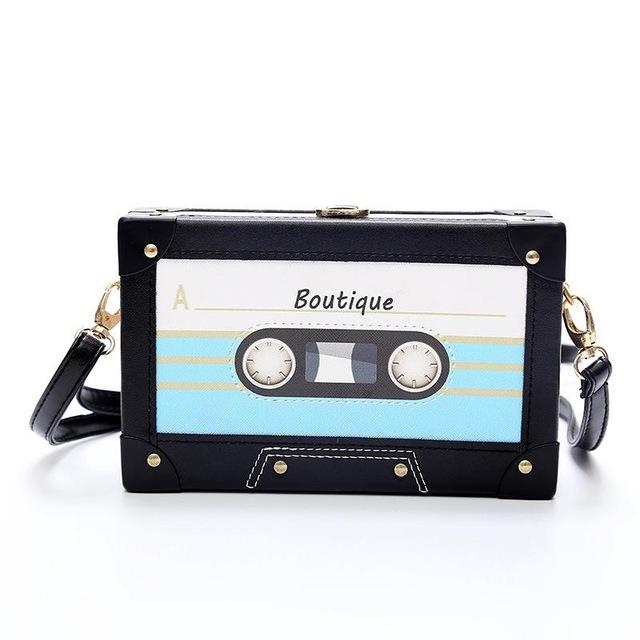 Personality tape cassettes evening clutch bag women hard box clutch high-end hand bag small party purse shoulder bag-ivroe