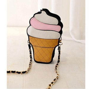 Gusure Women Cupcake Ice Cream Shape Crossbody Bags Cartoon Fashion Chain PU Leather Female Small Mini Shoulder Bag Candy Colors-ivroe