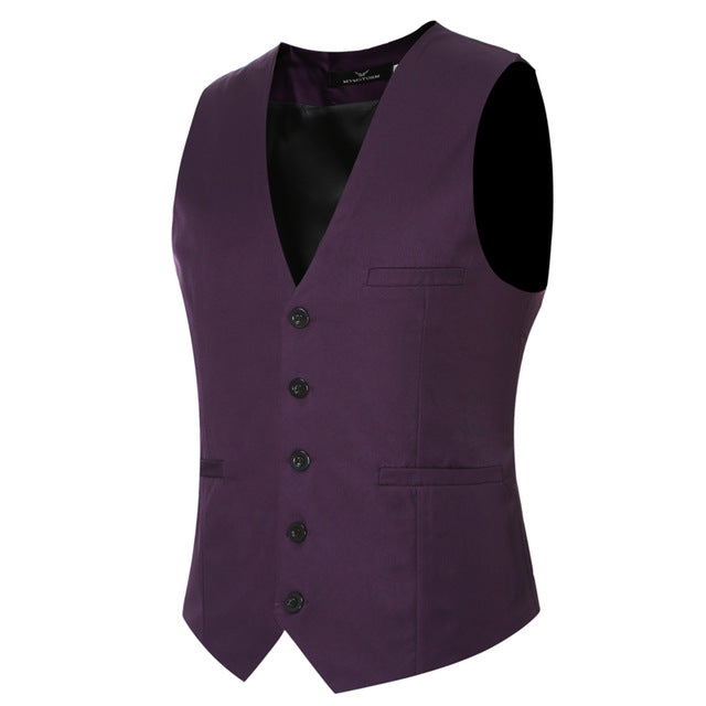 MarKyi plus size 6xl fashion slim fit sleeveless mens wedding waistcoats 9 colors solid waistcoat men dress vests-ivroe