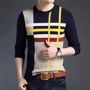 JOSALEM Men Striped Sweater 2017 Autumn Winter Thick Warm Cashmere Knitwear Casual Man O-neck Knitted Pullover Plus Size 4XL-ivroe