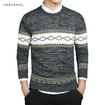VARSANOL Black Color Mens Pullover Sweater Coat Long Sleeve O-Neck Knitted Casual Cotton Sweater Men Striped Slim Warm M-3XL Hot-ivroe