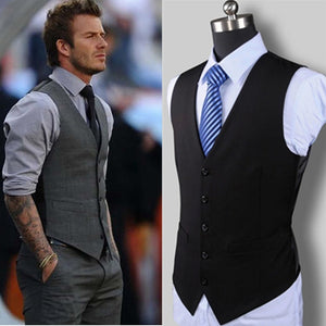 New Wedding Dress High-quality Goods Cotton Men's Fashion Design Suit Vest / Grey Black High-end Men's Business Casual Suit Vest-ivroe