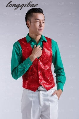Paillette Male Sequins Stage Performance Costumes Men Vest MC Host Clothing Waistcoats Show Sleeveless Jackets-ivroe